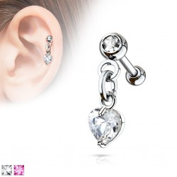 Cartilage hélix, tragus 379 - Coeur zircone pendant