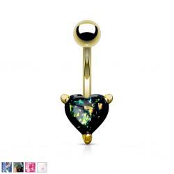 Piercing nombril coeur 63 - Gem paillettes plaqué-or