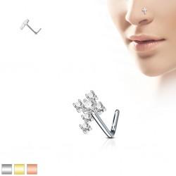 Piercing nez courbé 0.8mm 66 - Croix zircones