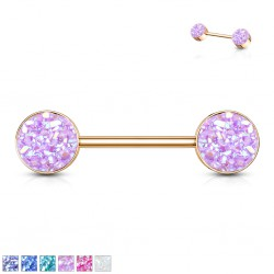 Piercing téton barbell 95 - Gold-ip rose druzy stone