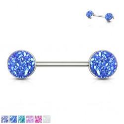Piercing téton barbell 96 - Druzy stone