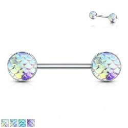 Piercing téton barbell 97 - Style peau de lézard nacrée