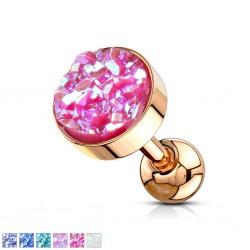 Cartilage hélix, tragus 221 - Druzy-stone gold-ip rose