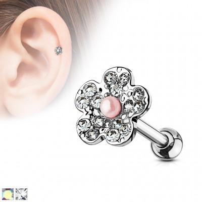 Piercing cartilage fleur ligne de strass
