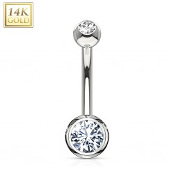 Piercing nombril or 14K 18 - Blanc double zircone