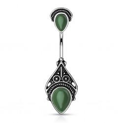 Piercing nombril pierre semi-précieuse 37 - Haut et bas aventurine jade