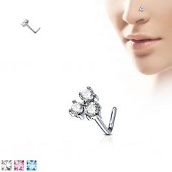 Piercing nez courbé 0.8mm 56 - Trois zircones ronds