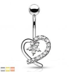 Piercing nombril coeur 19 - Strass transparents et fleur
