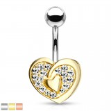 Piercing nombril coeur 83 - Plat multistrass