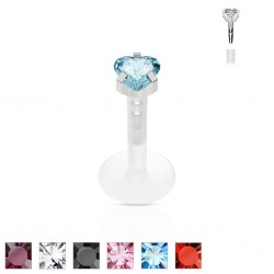 Piercing micro-labret PTFE 22 - Cristal coeur