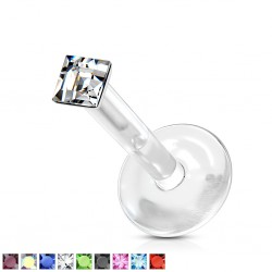 Piercing micro-labret PTFE 18 - Strass losange