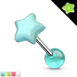 Piercing de langue UV 96 - Fluo étoile