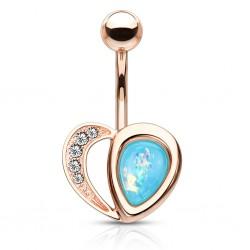 Piercing nombril plaqué-or 87 - Gold-ip rose gem coloré