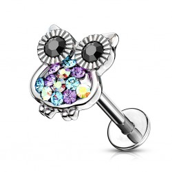 Piercing micro-labret 65 - Hibou multistrass