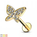 Piercing micro-labret 131 - PVD papillon strass