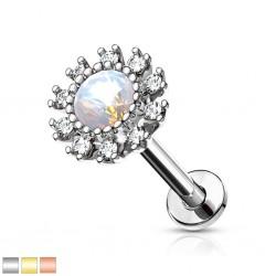 Piercing micro-labret 133 - PVD fleur gem aurora