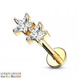 Piercing micro-labret 135 - Deux étoiles cristal