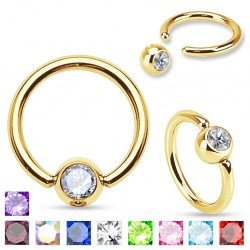 Piercing anneau 1,6mm 32 - Plaqué-or strass
