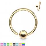 Piercing anneau 1,6mm 116 - PVD 1 bord attaché