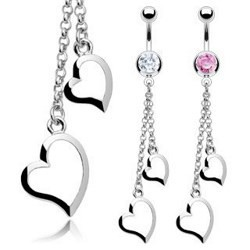 Piercing nombril coeur 07 - Chainettes