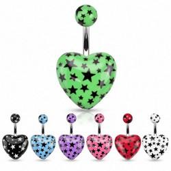 Piercing nombril UV 109 - Coeur étoiles