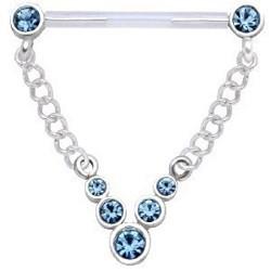 Piercing téton barbell 14 - Strass bleu-clair