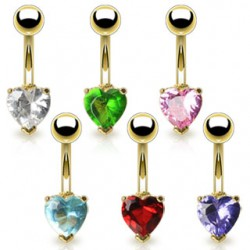 Piercing nombril plaqué-or 02 - Cristal coeur