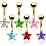 Piercing nombril plaqué-or 03 - Cristal étoile