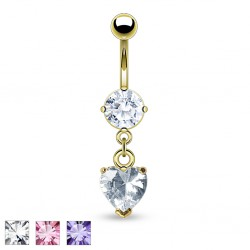 Piercing nombril plaqué-or 06 - Cristal pendant coeur