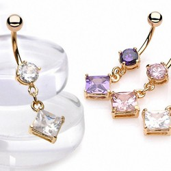 Piercing nombril plaqué-or 05 - Cristal pendant losange