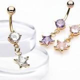 Piercing nombril plaqué-or 07 - Cristal pendant étoile