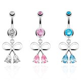 Piercing nombril noeud papillon 10 - Deux zircones