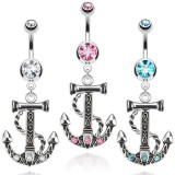 Piercing nombril ancre marine 01 - Corde trois strass