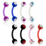 Piercing pour arcade acry 28 - Flexible boules strass