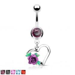 Piercing nombril coeur 08 - Rose