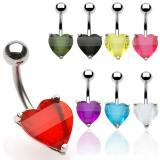 Piercing nombril coeur 29 - Cristal facette