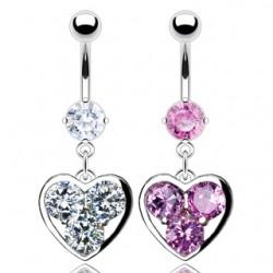 Piercing nombril coeur 06 - Trois zircones