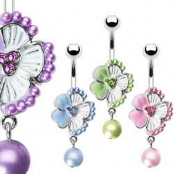 Piercing nombril fleur 03 - Hibiscus et perle