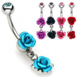 Piercing nombril fleur 16 - Deux roses