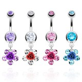 Piercing nombril fleur 07 - Rose et strass
