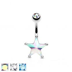 Piercing nombril étoile 10 - Cristal et strass