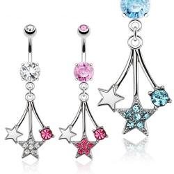 Piercing nombril étoile 26 - Trois pendantes