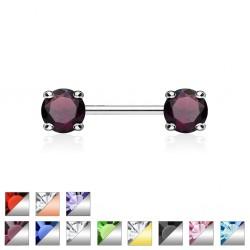 Piercing téton barbell 01 - Zircone rond