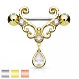 Piercing téton deluxe zircone pendant (69)