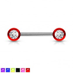 Piercing téton barbell 05 - Boules UV strass transparents