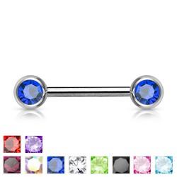 Piercing téton barbell 06 - Strass avec tige de 16mm