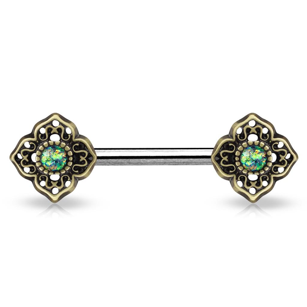 Faux piercing téton coeurs vintage