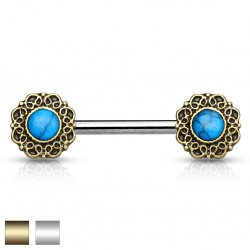 Piercing téton barbell 34 - Vintage turquoise A