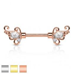 Piercing téton barbell 65 - Deluxe zircones
