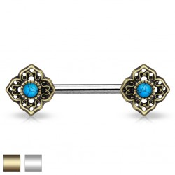 Piercing téton barbell 61 - Vintage turquoise C